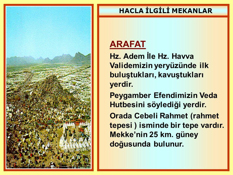 HACLA İLGİLİ MEKANLAR ARAFAT. Hz. Adem İle Hz. Havva Validemizin yeryüzünde ilk buluştukları, kavuştukları yerdir.