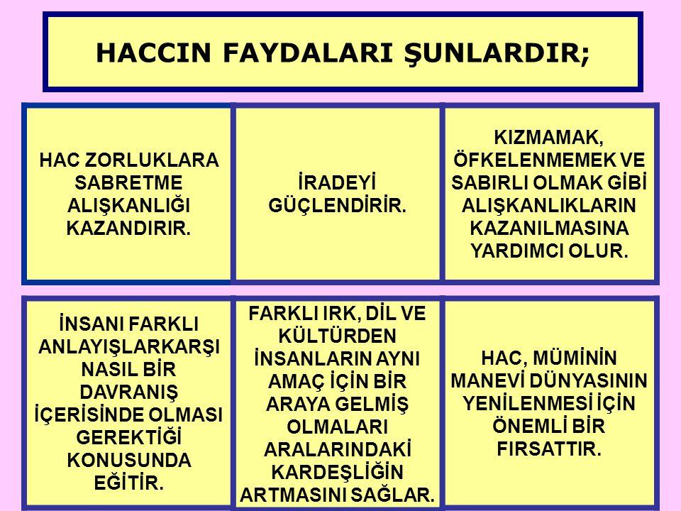 HACCIN FAYDALARI ŞUNLARDIR;