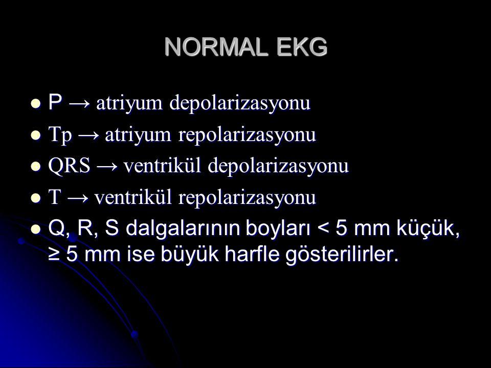 NORMAL EKG P → atriyum depolarizasyonu Tp → atriyum repolarizasyonu