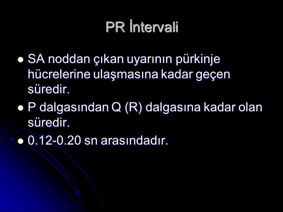 PR İntervali SA noddan çıkan uyarının pürkinje hücrelerine ulaşmasına kadar geçen süredir. P dalgasından Q (R) dalgasına kadar olan süredir.