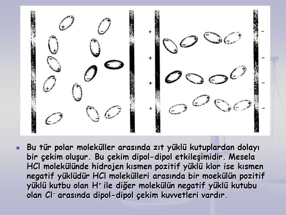 Bu tür polar moleküller arasında zıt yüklü kutuplardan dolayı bir çekim oluşur.