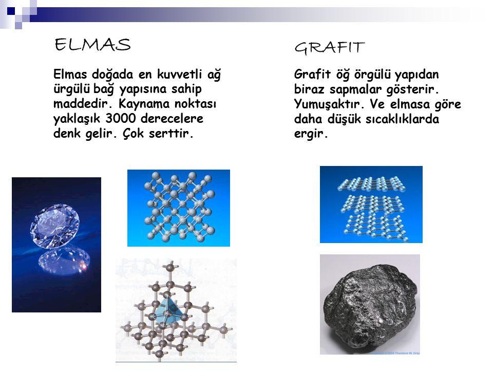 ELMAS Elmas doğada en kuvvetli ağ ürgülü bağ yapısına sahip maddedir. Kaynama noktası yaklaşık 3000 derecelere denk gelir. Çok serttir.