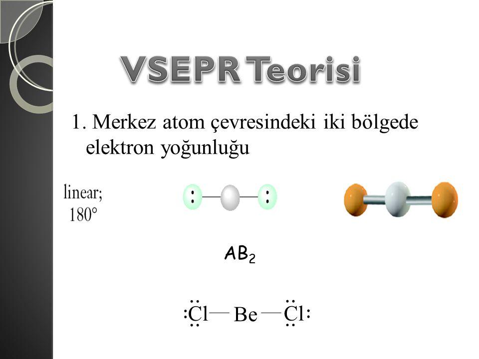 VSEPR Teorisi 1. Merkez atom çevresindeki iki bölgede elektron yoğunluğu AB2 Cl .. Be