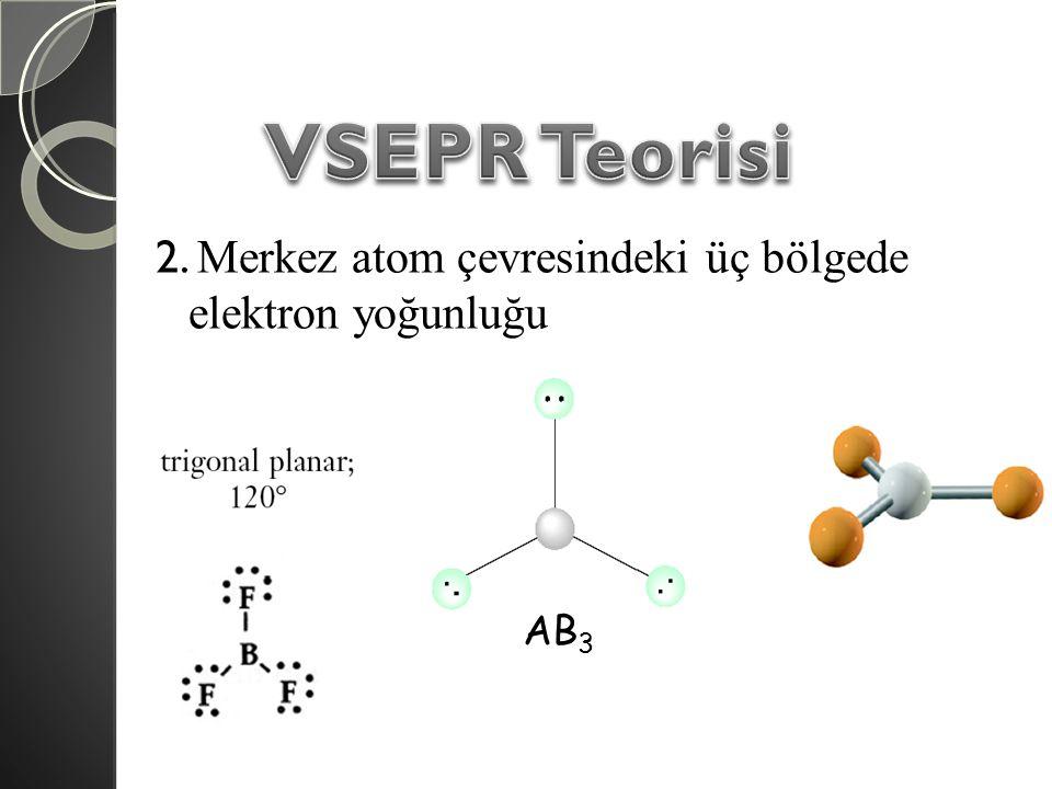 VSEPR Teorisi 2. Merkez atom çevresindeki üç bölgede elektron yoğunluğu AB3