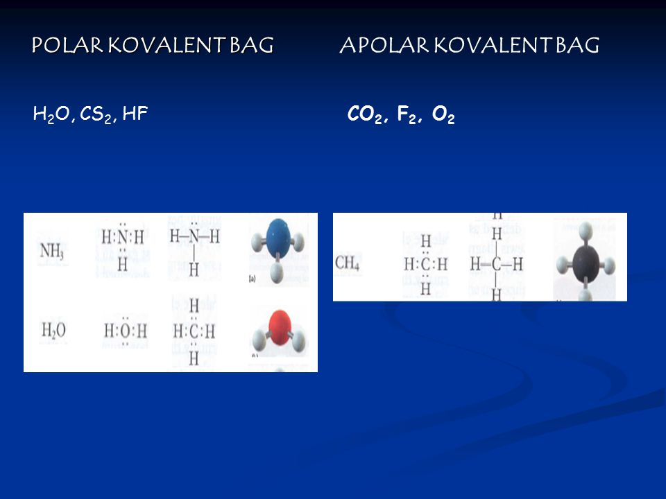 POLAR KOVALENT BAG APOLAR KOVALENT BAG H2O, CS2, HF CO2, F2, O2