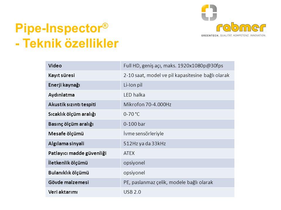 Pipe-Inspector® - Teknik özellikler
