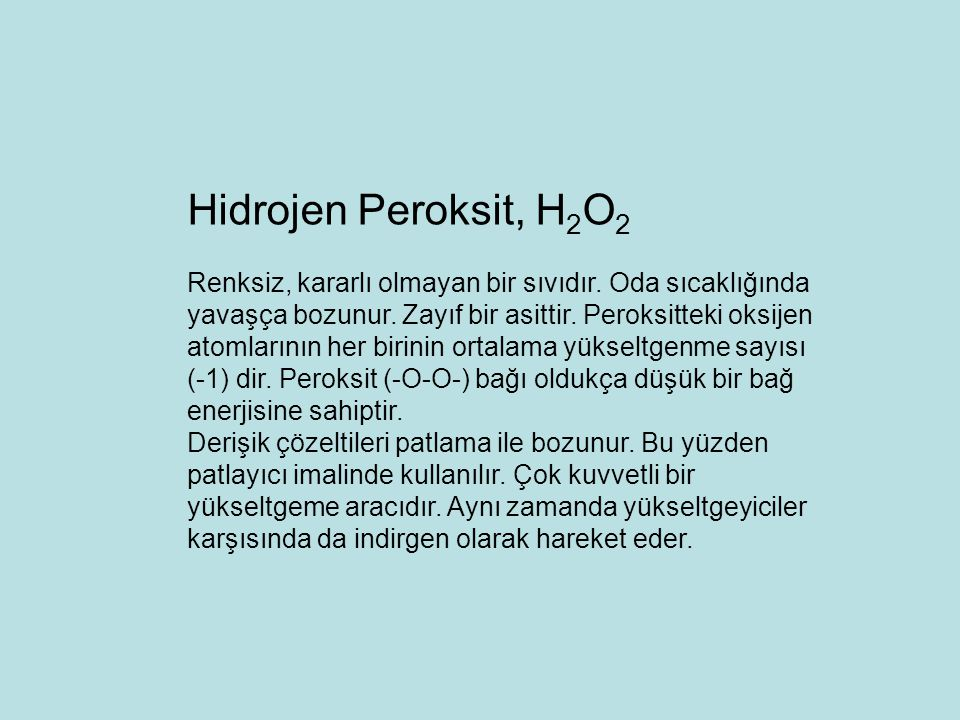 Hidrojen Peroksit, H2O2