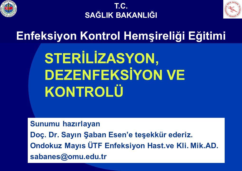 STERİLİZASYON, DEZENFEKSİYON VE KONTROLÜ