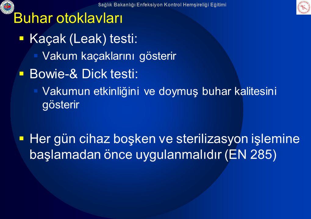 Buhar otoklavları Kaçak (Leak) testi: Bowie-& Dick testi: