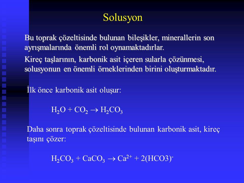 Solusyon Bu toprak çözeltisinde bulunan bileşikler, minerallerin son ayrışmalarında önemli rol oynamaktadırlar.