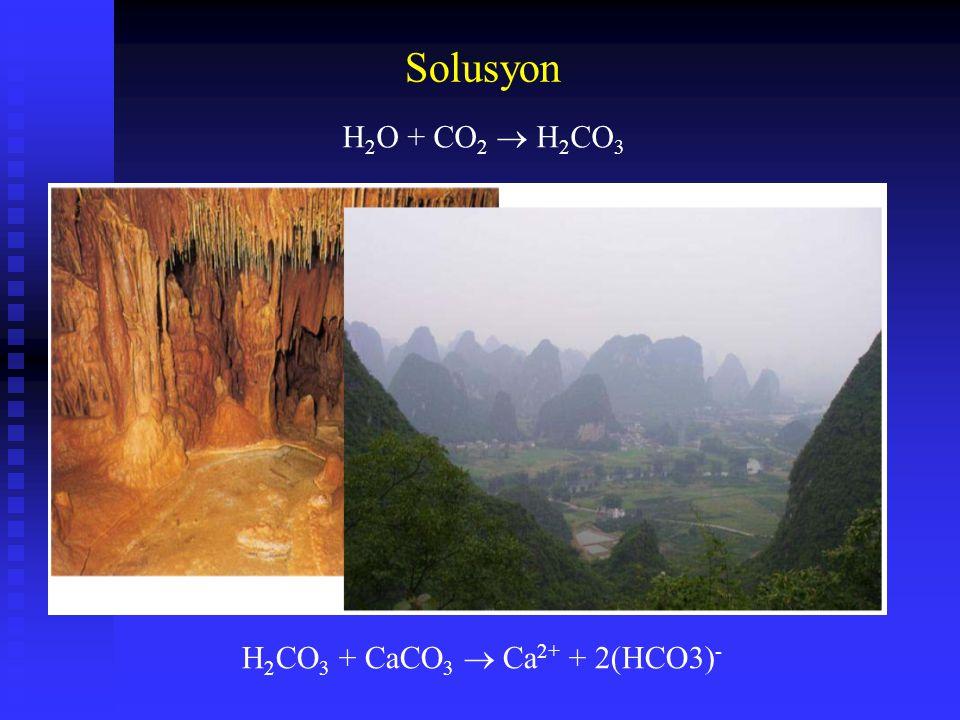 Solusyon H2O + CO2  H2CO3 H2CO3 + CaCO3  Ca2+ + 2(HCO3)-