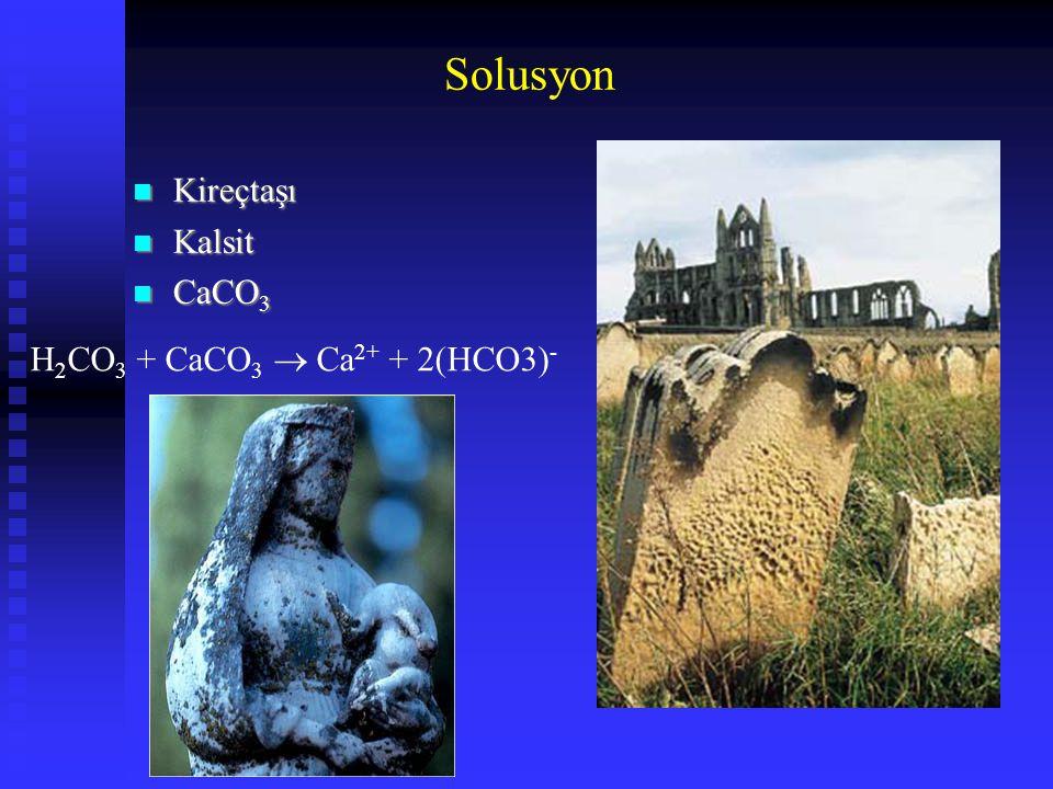 Solusyon Kireçtaşı Kalsit CaCO3 H2CO3 + CaCO3  Ca2+ + 2(HCO3)-