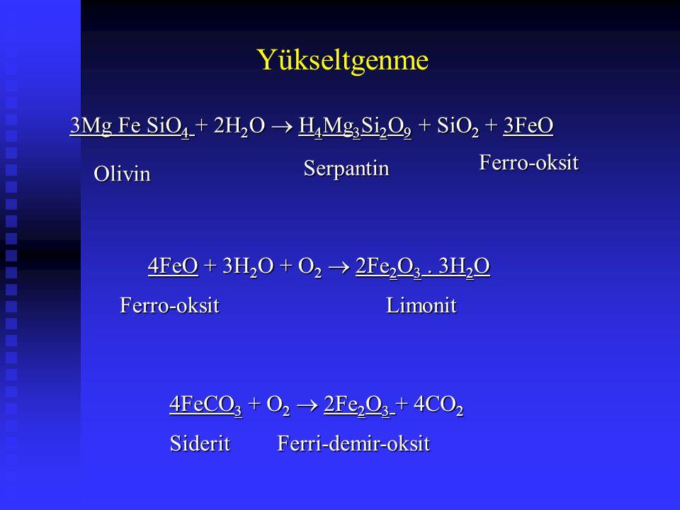 Yükseltgenme 3Mg Fe SiO4 + 2H2O  H4Mg3Si2O9 + SiO2 + 3FeO Ferro-oksit
