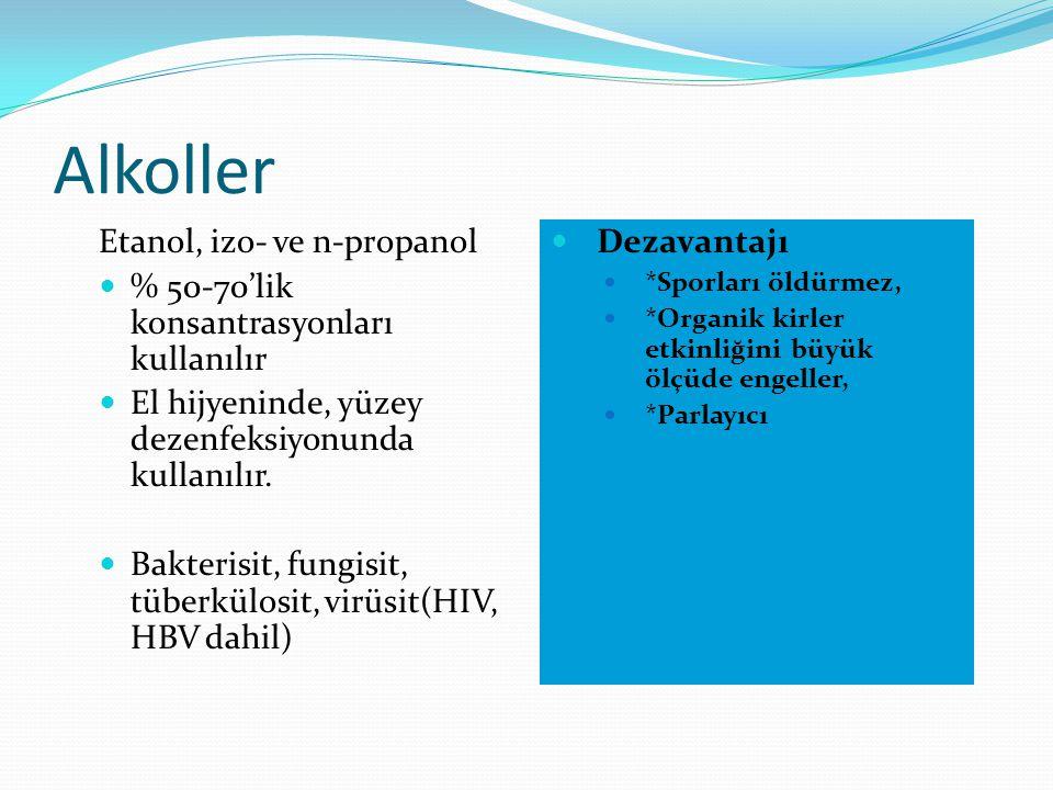 Alkoller Etanol, izo- ve n-propanol