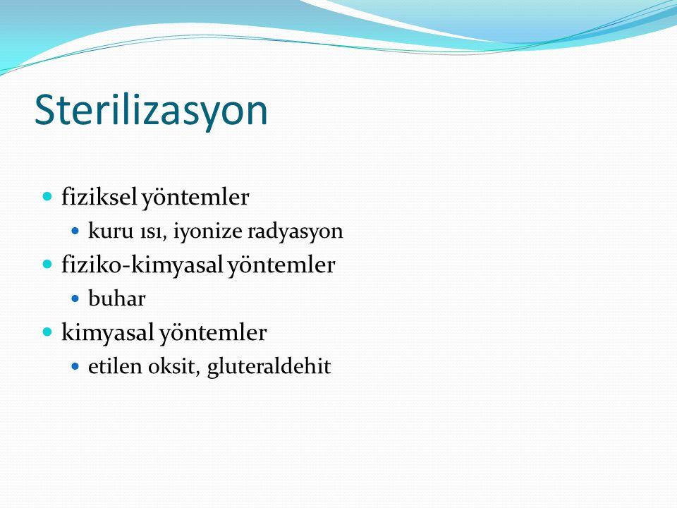 Sterilizasyon fiziksel yöntemler fiziko-kimyasal yöntemler
