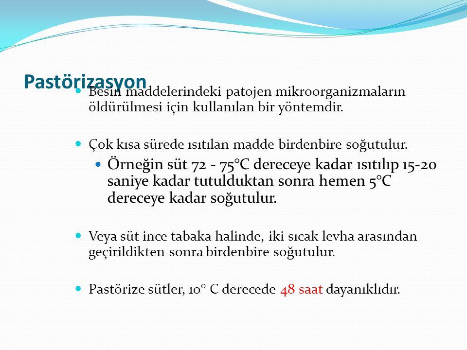 Pastörizasyon Besin maddelerindeki patojen mikroorganizmaların öldürülmesi için kullanılan bir yöntemdir.