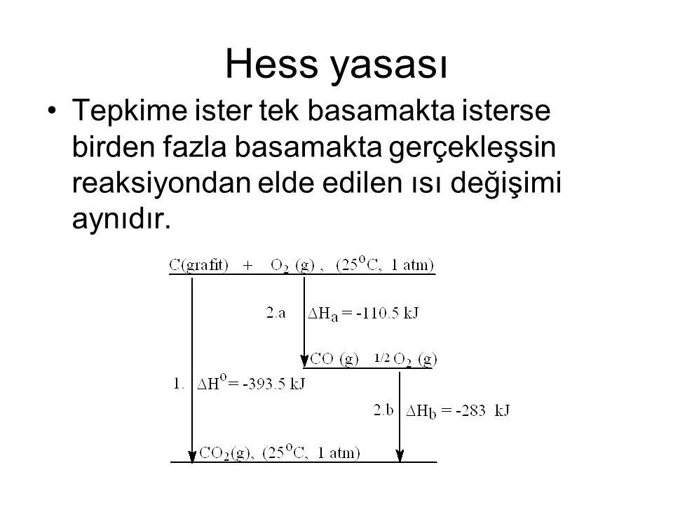 Hess yasası Tepkime ister tek basamakta isterse birden fazla basamakta gerçekleşsin reaksiyondan elde edilen ısı değişimi aynıdır.
