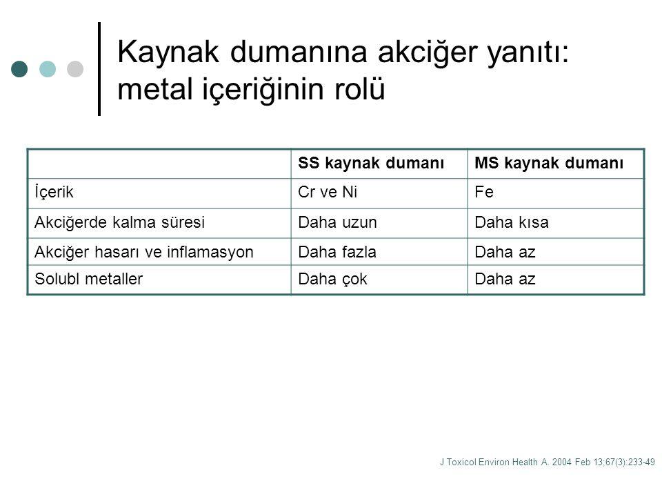 Kaynak dumanına akciğer yanıtı: metal içeriğinin rolü