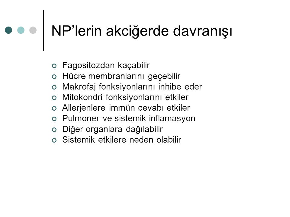 NP'lerin akciğerde davranışı