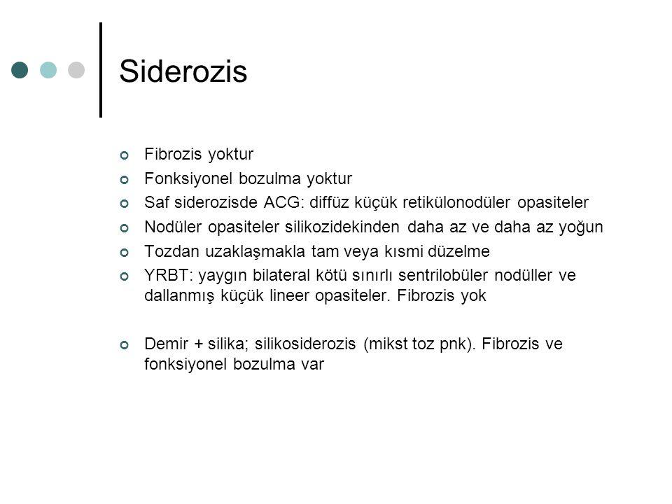 Siderozis Fibrozis yoktur Fonksiyonel bozulma yoktur