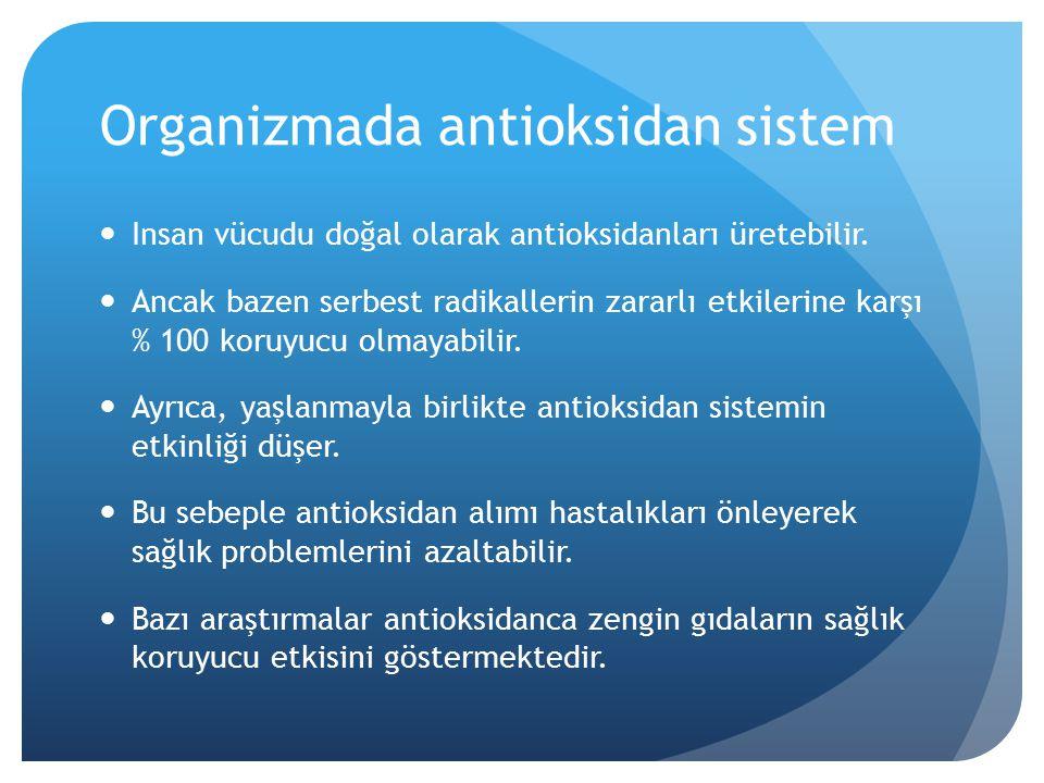 Organizmada antioksidan sistem