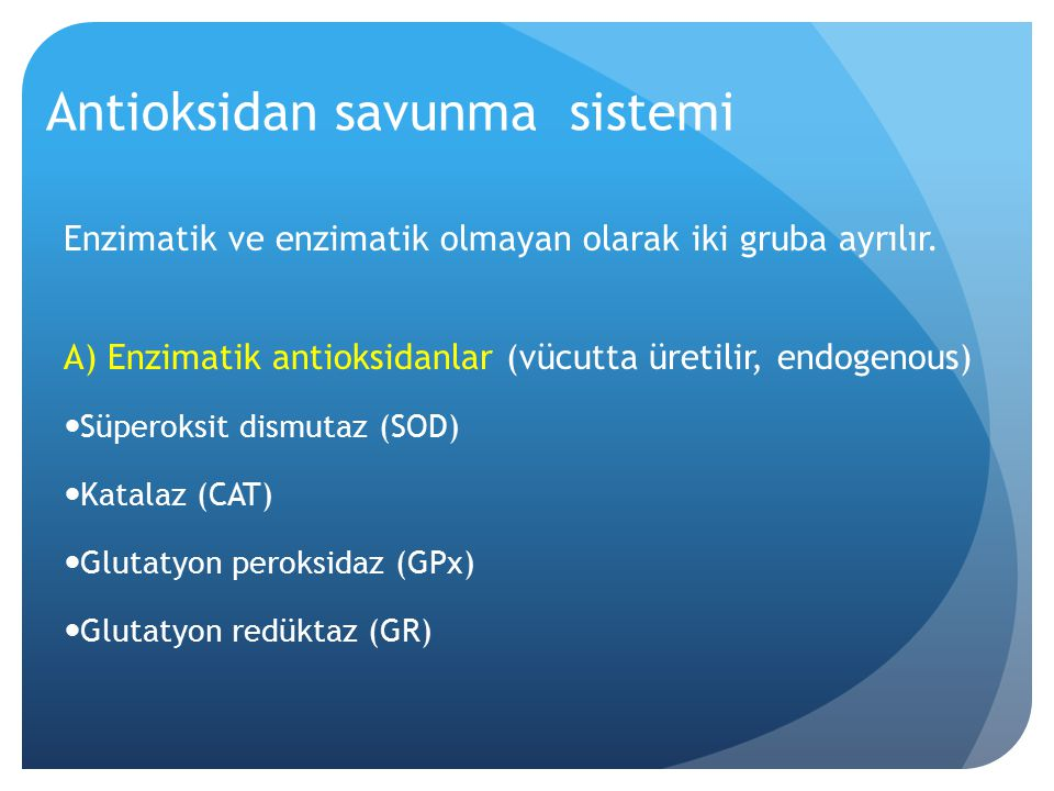 Antioksidan savunma sistemi