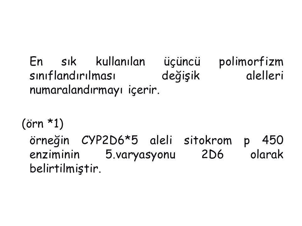 En sık kullanılan üçüncü polimorfizm sınıflandırılması değişik alelleri numaralandırmayı içerir. (örn *1) örneğin CYP2D6*5 aleli sitokrom p 450 enziminin 5.varyasyonu 2D6 olarak belirtilmiştir.