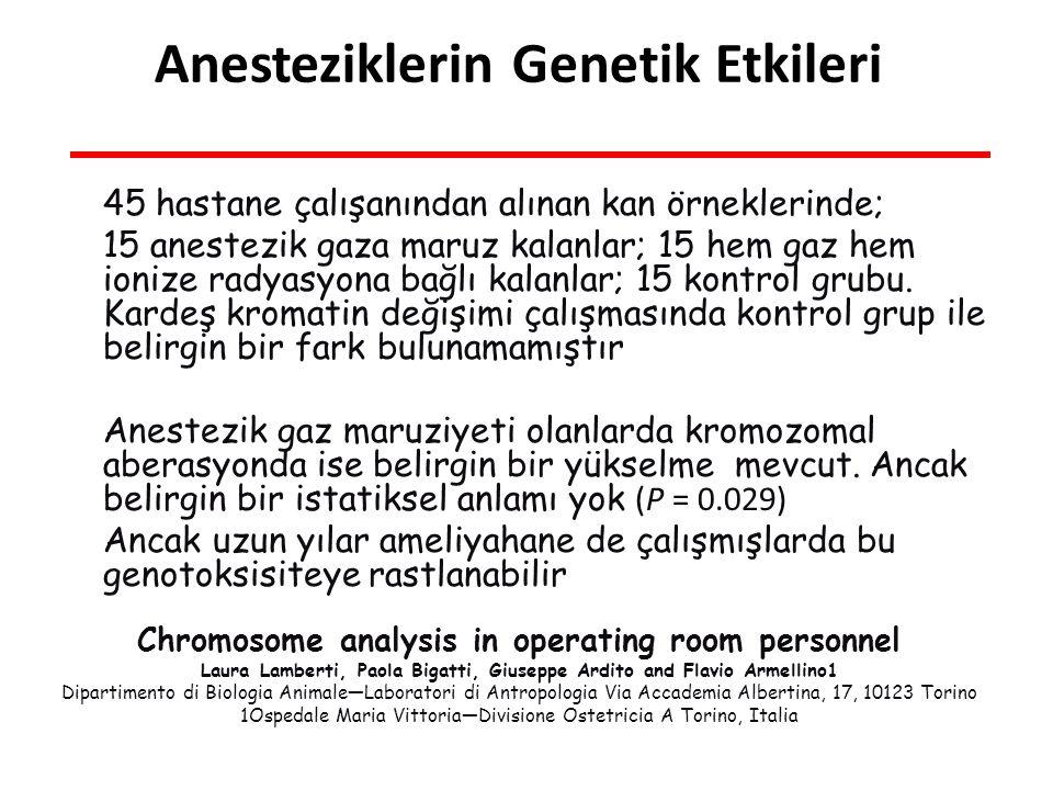 Anesteziklerin Genetik Etkileri