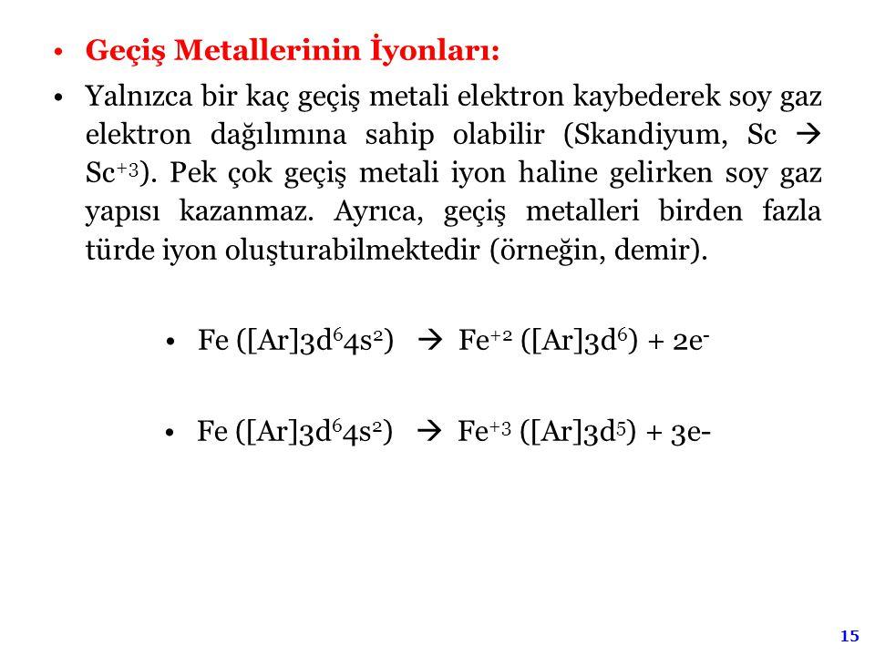 Geçiş Metallerinin İyonları: