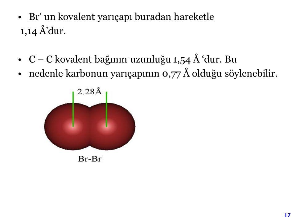 Br' un kovalent yarıçapı buradan hareketle