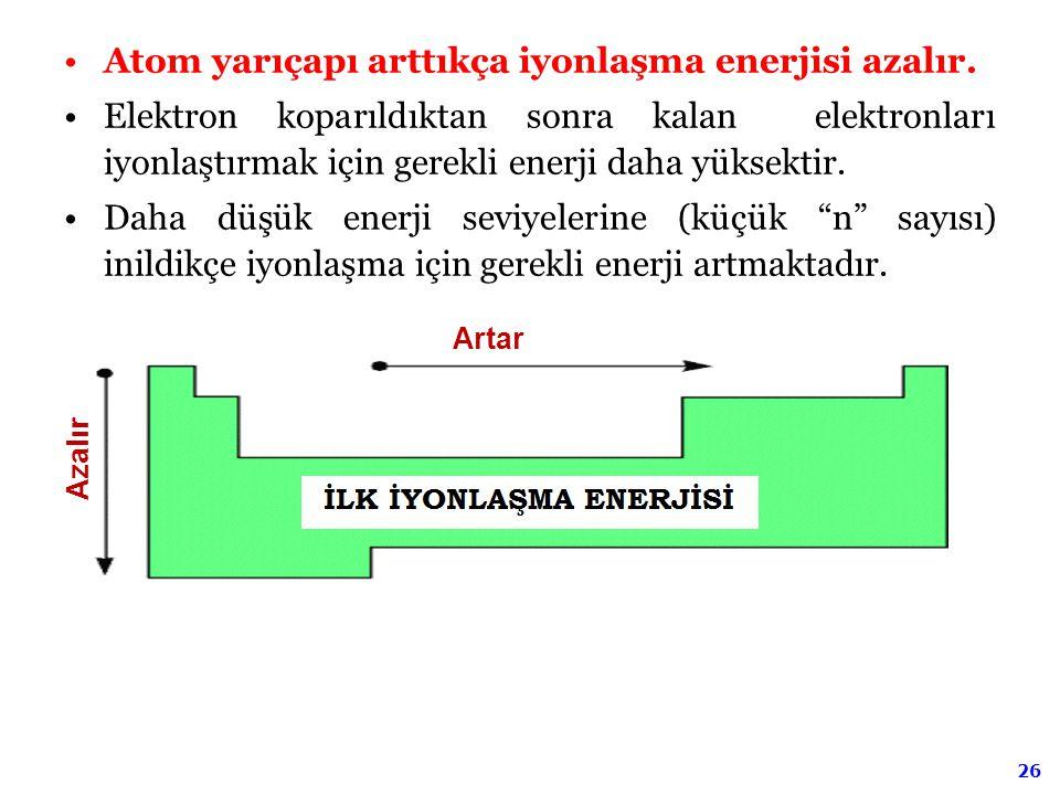 Atom yarıçapı arttıkça iyonlaşma enerjisi azalır.