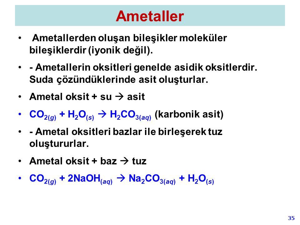 Ametaller Ametallerden oluşan bileşikler moleküler bileşiklerdir (iyonik değil).