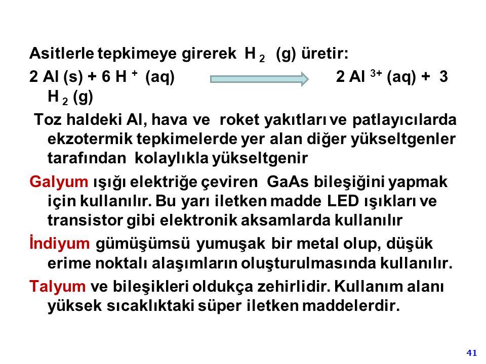 Asitlerle tepkimeye girerek H 2 (g) üretir: