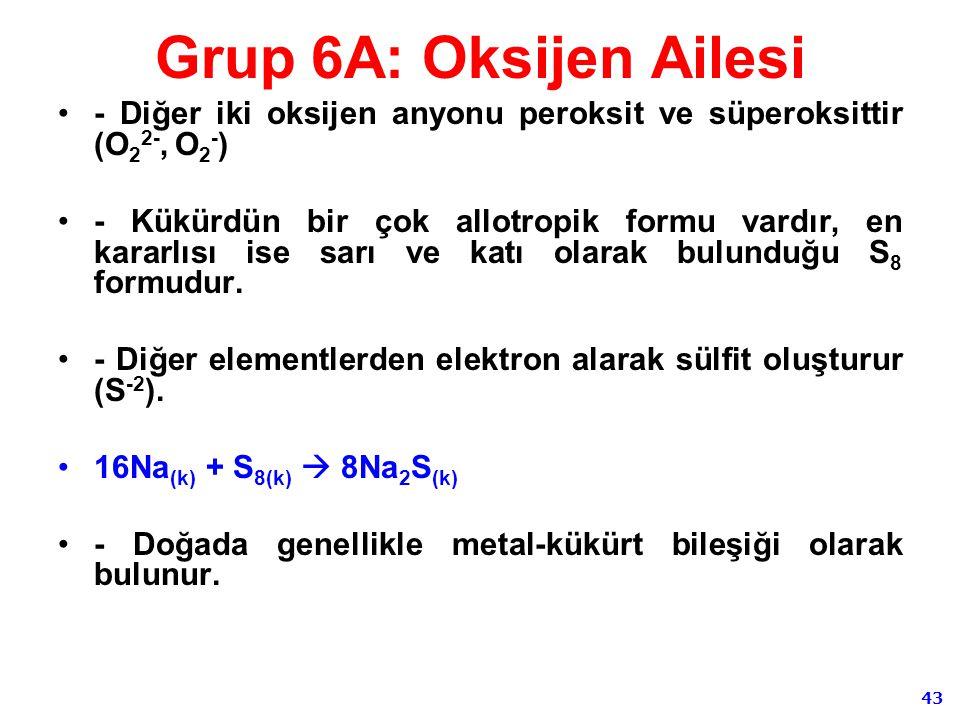 Grup 6A: Oksijen Ailesi - Diğer iki oksijen anyonu peroksit ve süperoksittir (O22-, O2-)