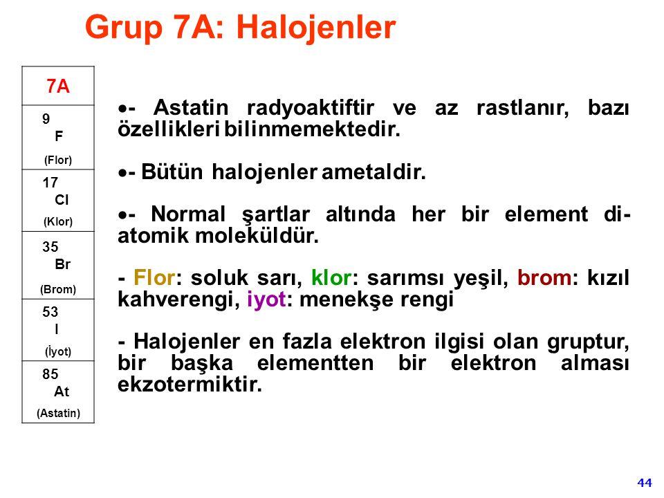 Grup 7A: Halojenler 7A. 9 F. (Flor) 17 Cl. (Klor) 35 Br. (Brom) 53 I. (İyot)