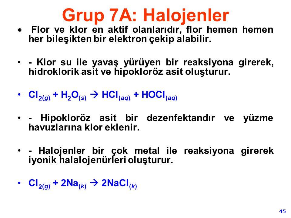 Grup 7A: Halojenler Flor ve klor en aktif olanlarıdır, flor hemen hemen her bileşikten bir elektron çekip alabilir.