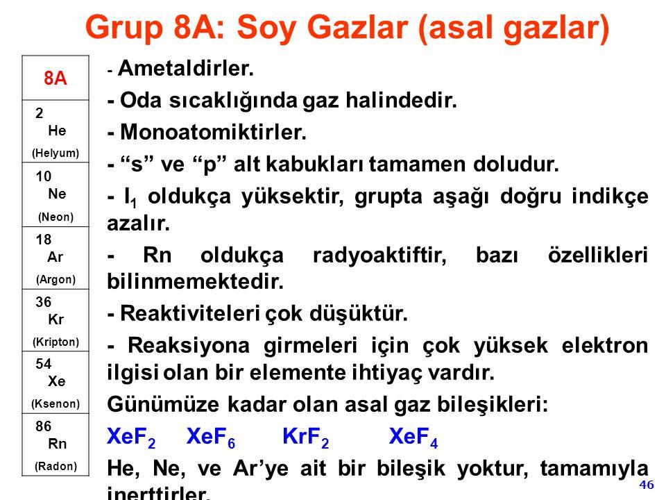 Grup 8A: Soy Gazlar (asal gazlar)