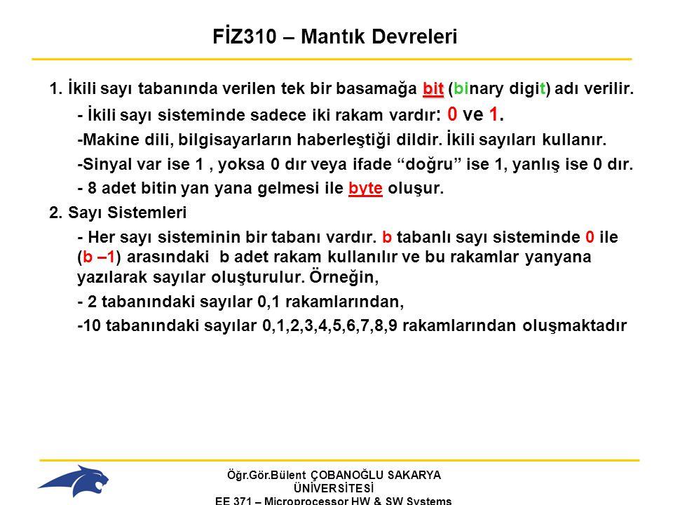 FİZ310 – Mantık Devreleri 1. İkili sayı tabanında verilen tek bir basamağa bit (binary digit) adı verilir.