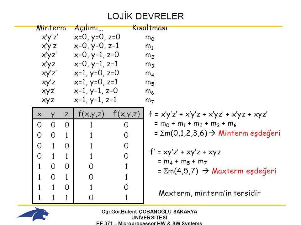 LOJİK DEVRELER Minterm Açılımı… Kısaltması x'y'z' x=0, y=0, z=0 m0