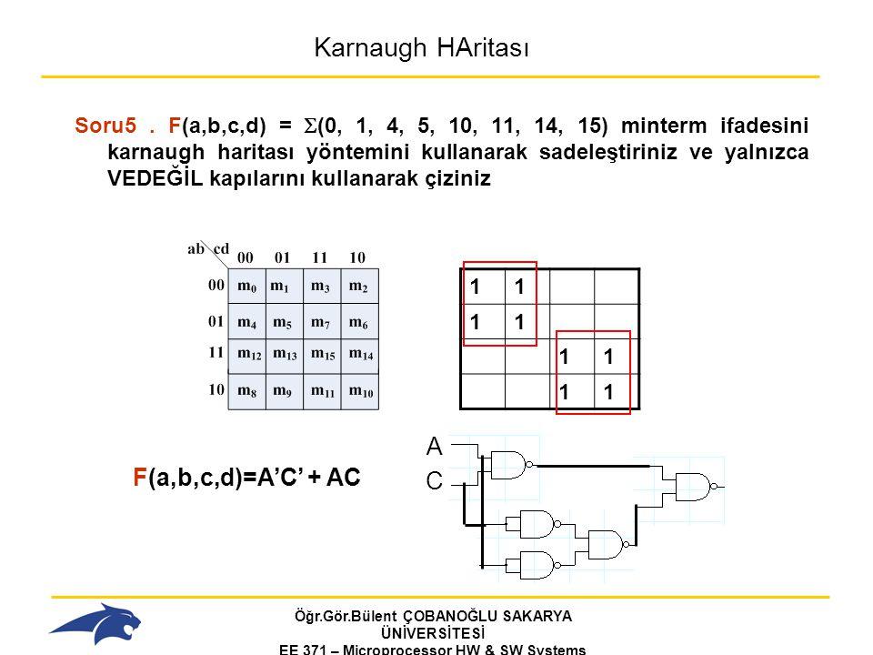 Karnaugh HAritası A F(a,b,c,d)=A'C' + AC C