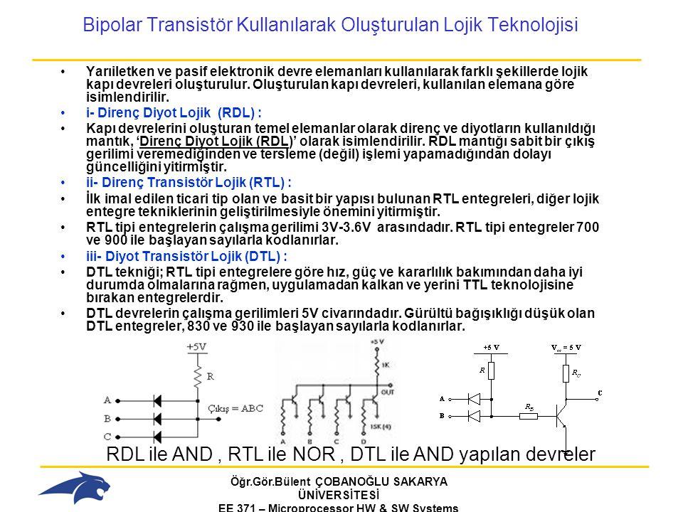 Bipolar Transistör Kullanılarak Oluşturulan Lojik Teknolojisi