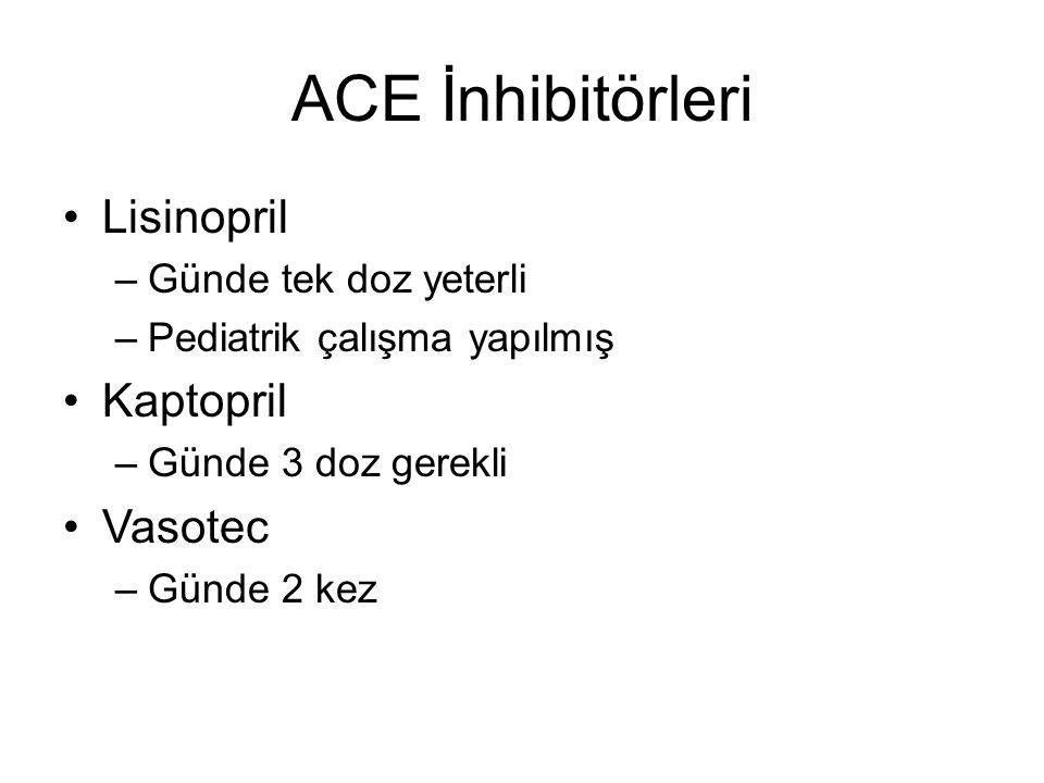 ACE İnhibitörleri Lisinopril Kaptopril Vasotec Günde tek doz yeterli