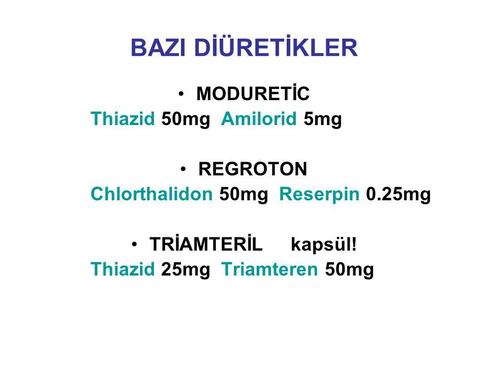 BAZI DİÜRETİKLER MODURETİC Thiazid 50mg Amilorid 5mg REGROTON