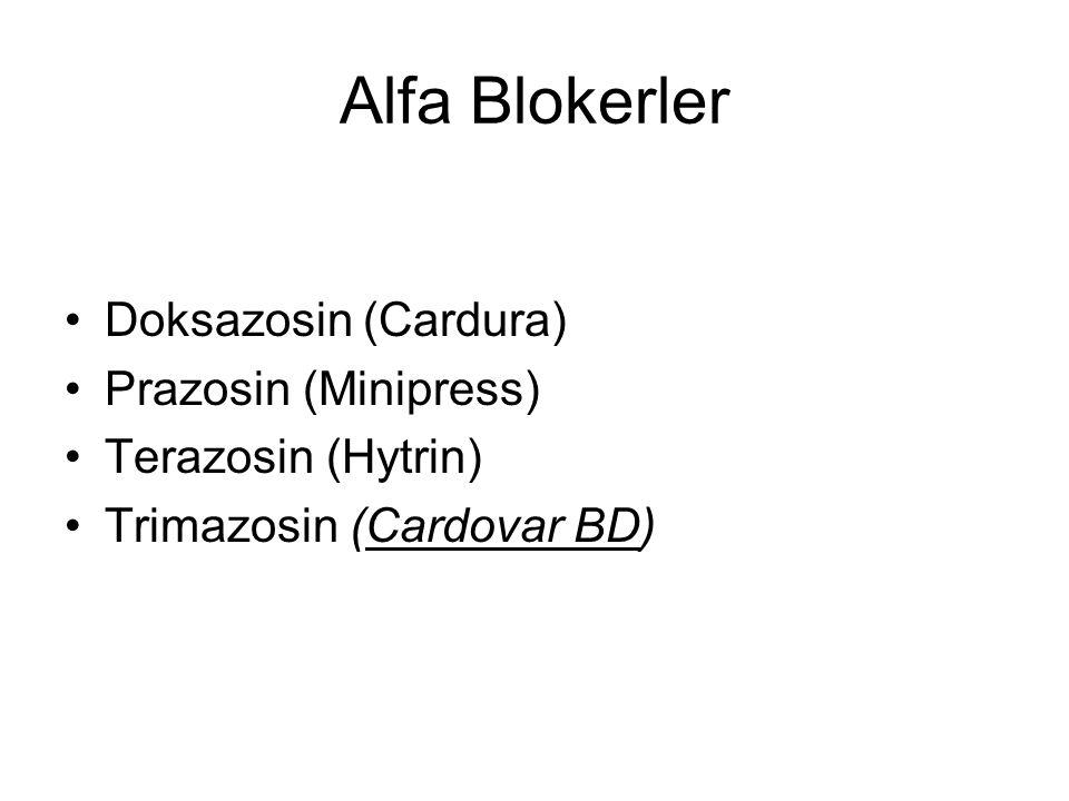 Alfa Blokerler Doksazosin (Cardura) Prazosin (Minipress)