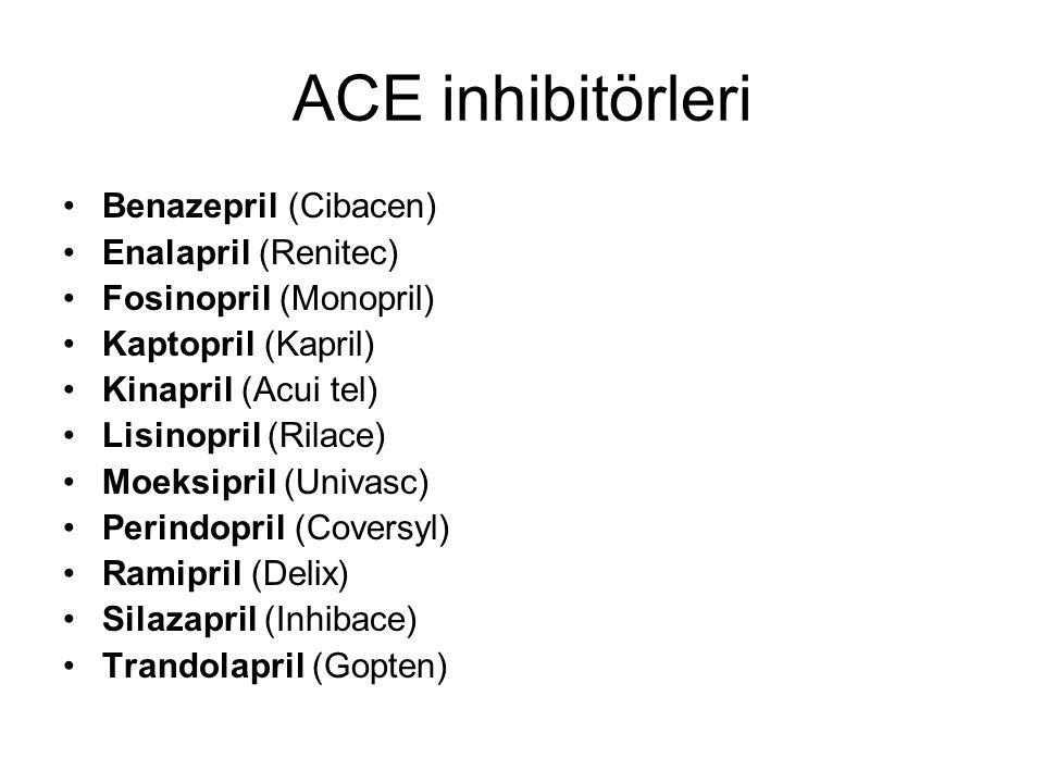 ACE inhibitörleri Benazepril (Cibacen) Enalapril (Renitec)