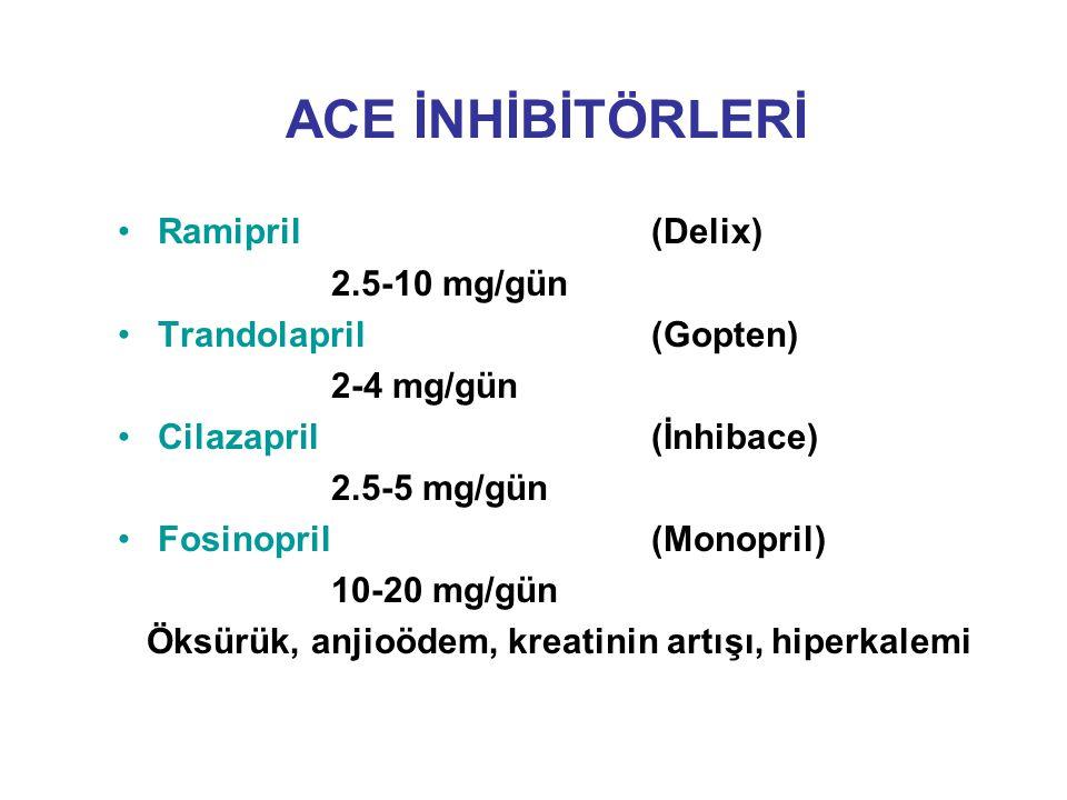 ACE İNHİBİTÖRLERİ Ramipril (Delix) 2.5-10 mg/gün Trandolapril (Gopten)