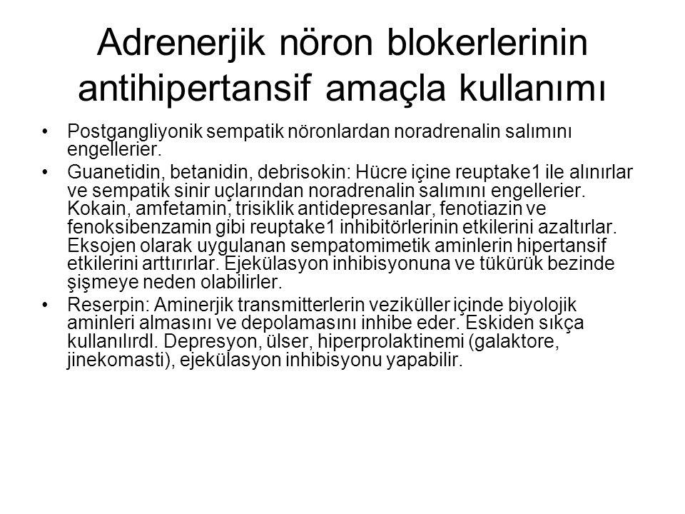 Adrenerjik nöron blokerlerinin antihipertansif amaçla kullanımı