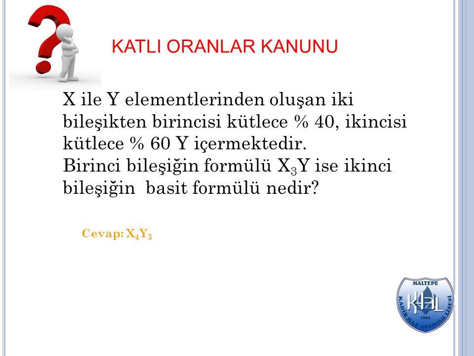 KATLI ORANLAR KANUNU X ile Y elementlerinden oluşan iki bileşikten birincisi kütlece % 40, ikincisi kütlece % 60 Y içermektedir.