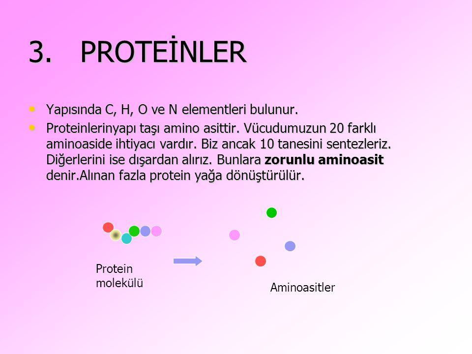 3. PROTEİNLER Yapısında C, H, O ve N elementleri bulunur.