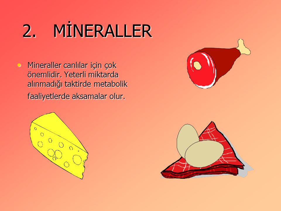 2. MİNERALLER Mineraller canlılar için çok önemlidir.